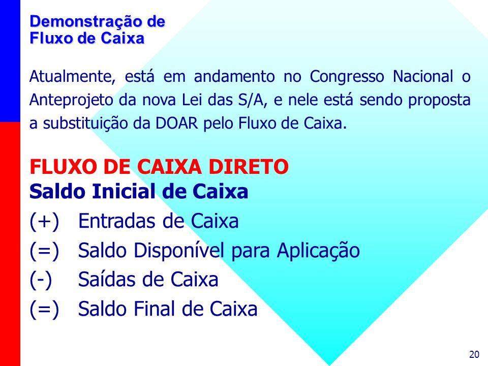 20 Demonstração de Fluxo de Caixa Atualmente, está em andamento no Congresso Nacional o Anteprojeto da nova Lei das S/A, e nele está sendo proposta a