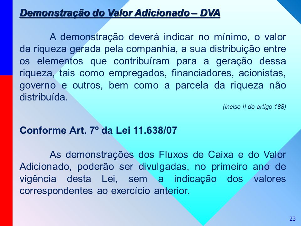 23 Demonstração do Valor Adicionado – DVA A demonstração deverá indicar no mínimo, o valor da riqueza gerada pela companhia, a sua distribuição entre