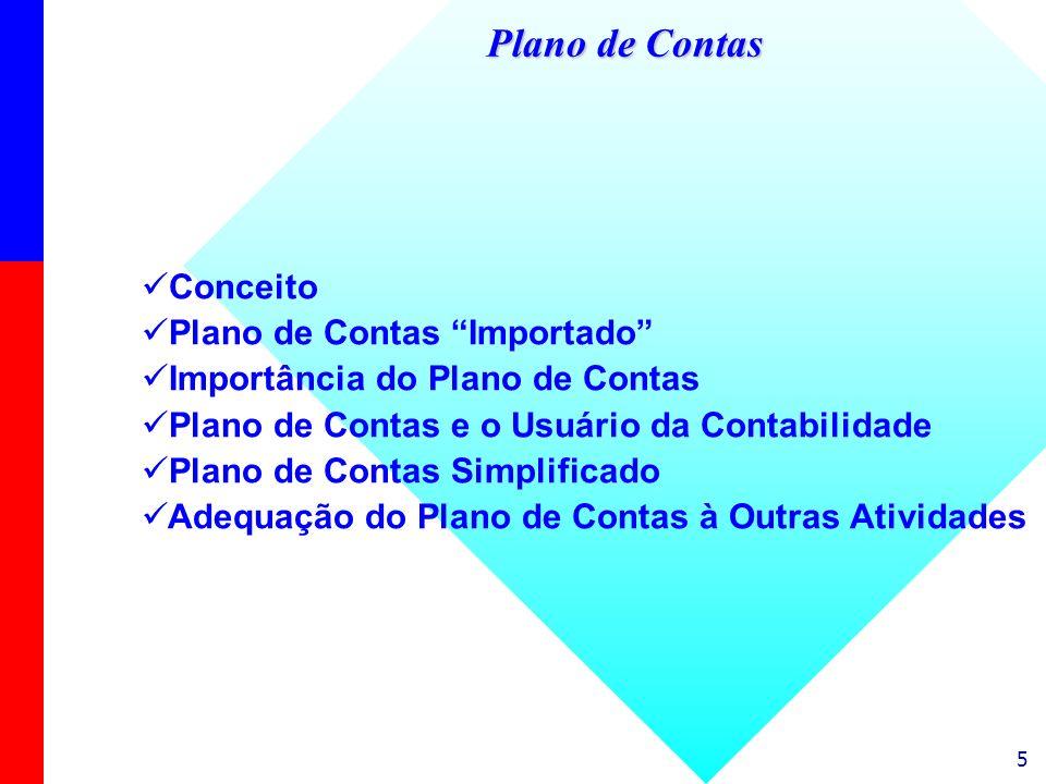5 Conceito Plano de Contas Importado Importância do Plano de Contas Plano de Contas e o Usuário da Contabilidade Plano de Contas Simplificado Adequaçã