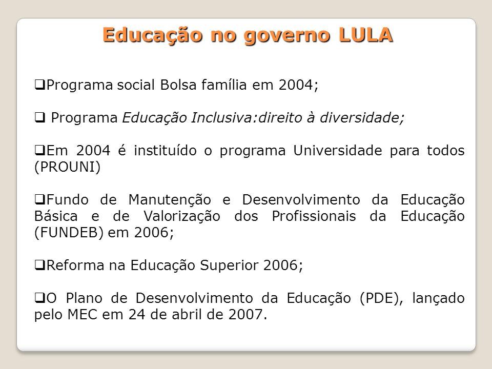 Programa social Bolsa família em 2004; Programa Educação Inclusiva:direito à diversidade; Em 2004 é instituído o programa Universidade para todos (PRO