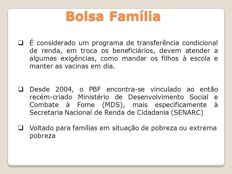 É considerado um programa de transferência condicional de renda, em troca os beneficiários, devem atender a algumas exigências, como mandar os filhos