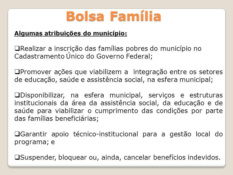 Bolsa Família Algumas atribuições do município: Realizar a inscrição das famílias pobres do município no Cadastramento Único do Governo Federal; Promo