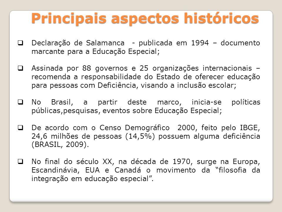 Principais aspectos históricos Declaração de Salamanca - publicada em 1994 – documento marcante para a Educação Especial; Assinada por 88 governos e 2