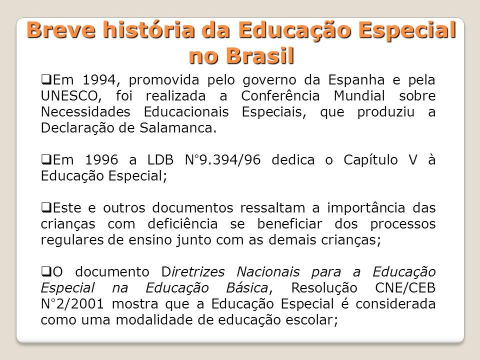 Em 1994, promovida pelo governo da Espanha e pela UNESCO, foi realizada a Conferência Mundial sobre Necessidades Educacionais Especiais, que produziu