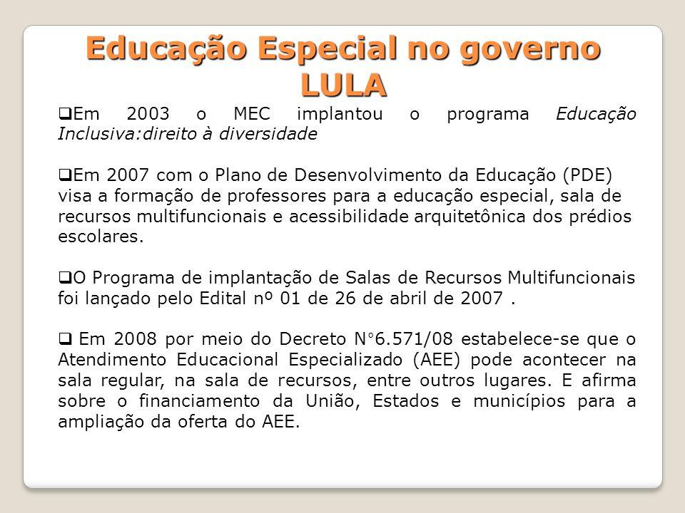 Em 2003 o MEC implantou o programa Educação Inclusiva:direito à diversidade Em 2007 com o Plano de Desenvolvimento da Educação (PDE) visa a formação d