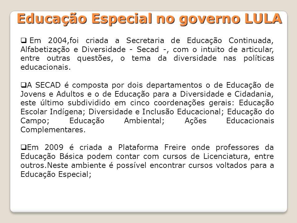 Em 2004,foi criada a Secretaria de Educação Continuada, Alfabetização e Diversidade - Secad -, com o intuito de articular, entre outras questões, o te