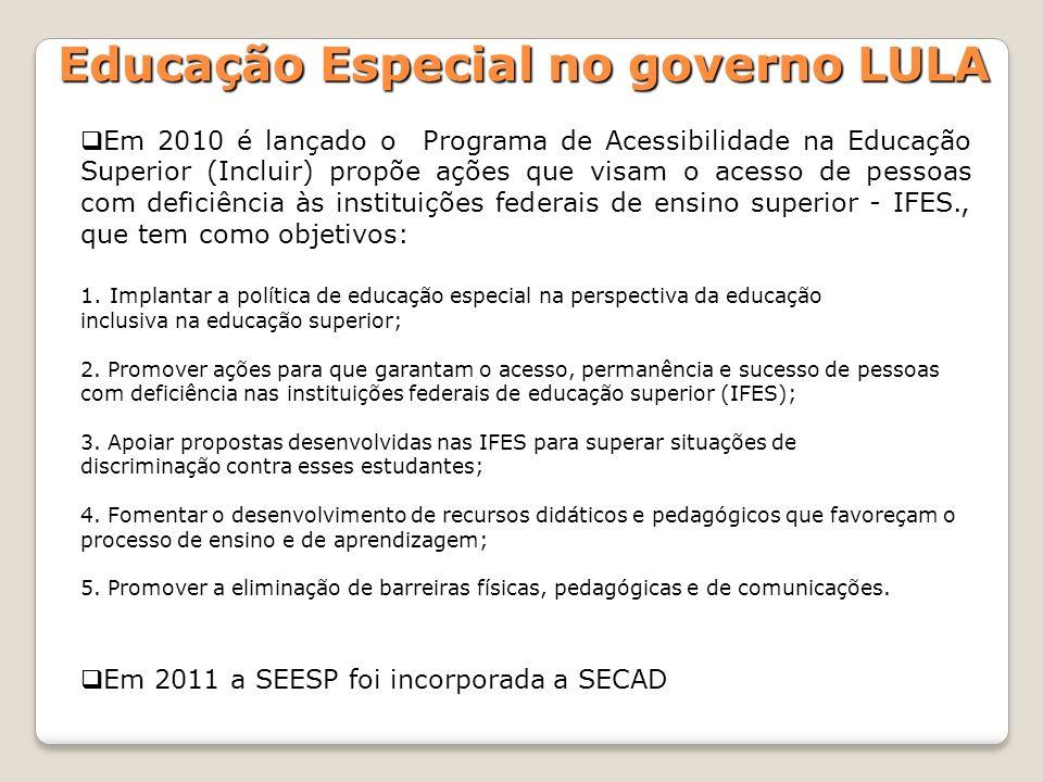 Em 2010 é lançado o Programa de Acessibilidade na Educação Superior (Incluir) propõe ações que visam o acesso de pessoas com deficiência às instituiçõ