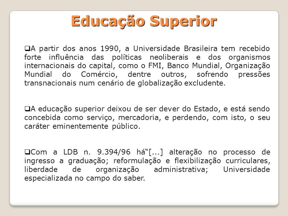 Educação Superior A partir dos anos 1990, a Universidade Brasileira tem recebido forte influência das políticas neoliberais e dos organismos internaci