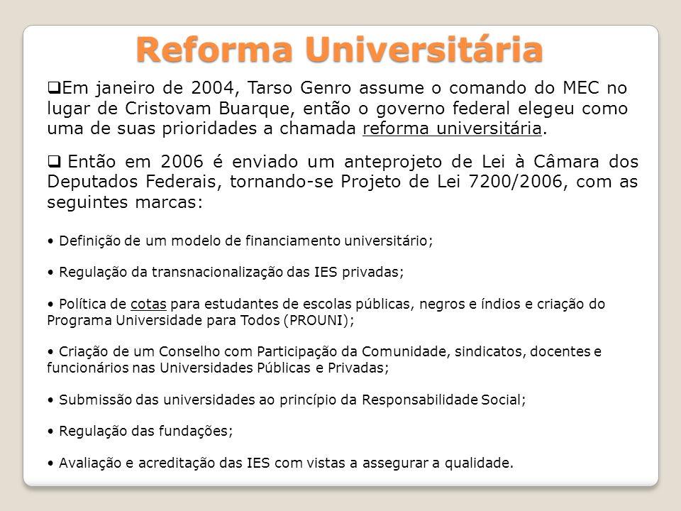Reforma Universitária Em janeiro de 2004, Tarso Genro assume o comando do MEC no lugar de Cristovam Buarque, então o governo federal elegeu como uma d