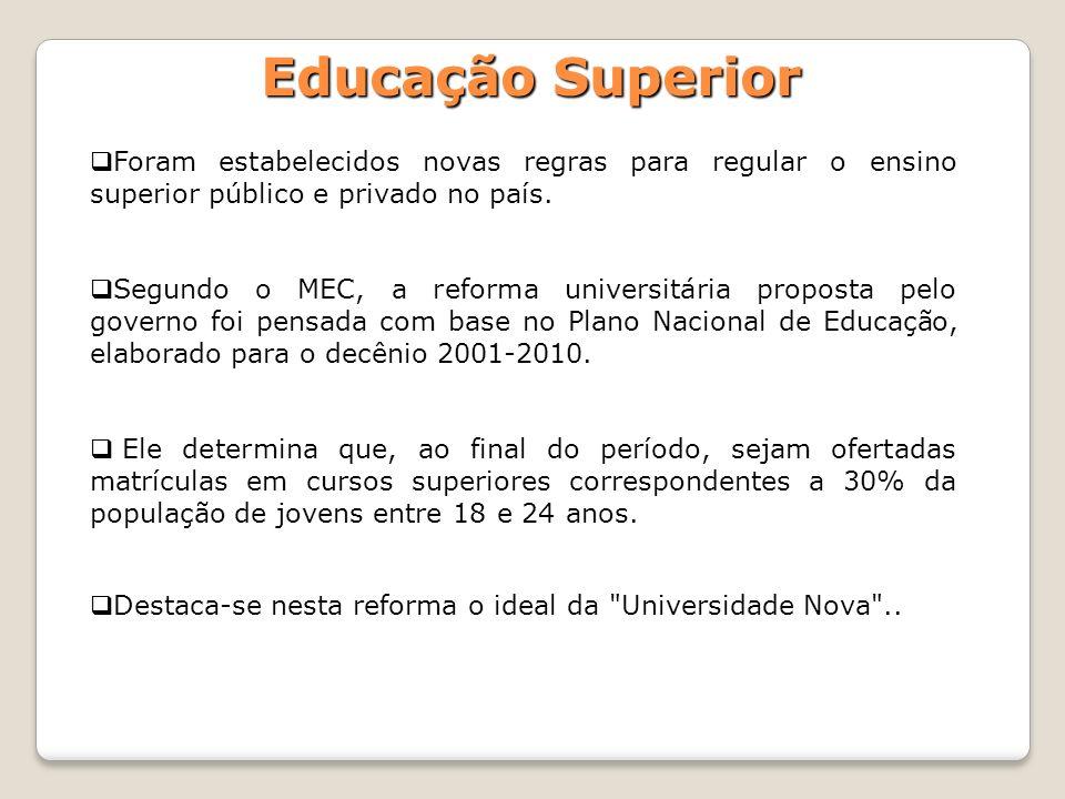 Educação Superior Foram estabelecidos novas regras para regular o ensino superior público e privado no país. Segundo o MEC, a reforma universitária pr