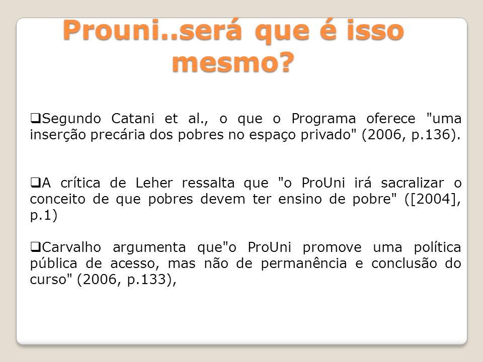 Segundo Catani et al., o que o Programa oferece