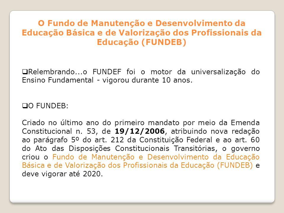 Relembrando...o FUNDEF foi o motor da universalização do Ensino Fundamental - vigorou durante 10 anos. O FUNDEB: Criado no último ano do primeiro mand
