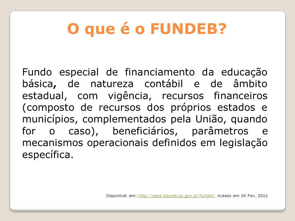 Fundo especial de financiamento da educação básica, de natureza contábil e de âmbito estadual, com vigência, recursos financeiros (composto de recurso