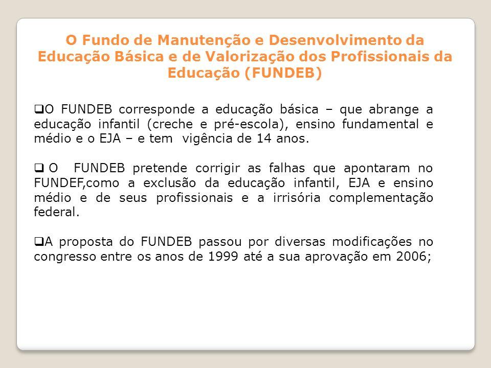 O Fundo de Manutenção e Desenvolvimento da Educação Básica e de Valorização dos Profissionais da Educação (FUNDEB) O FUNDEB corresponde a educação bás