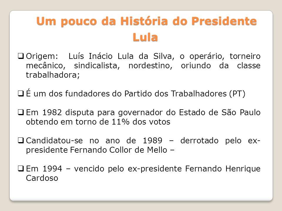 Um pouco da História do Presidente Lula Origem: Luís Inácio Lula da Silva, o operário, torneiro mecânico, sindicalista, nordestino, oriundo da classe
