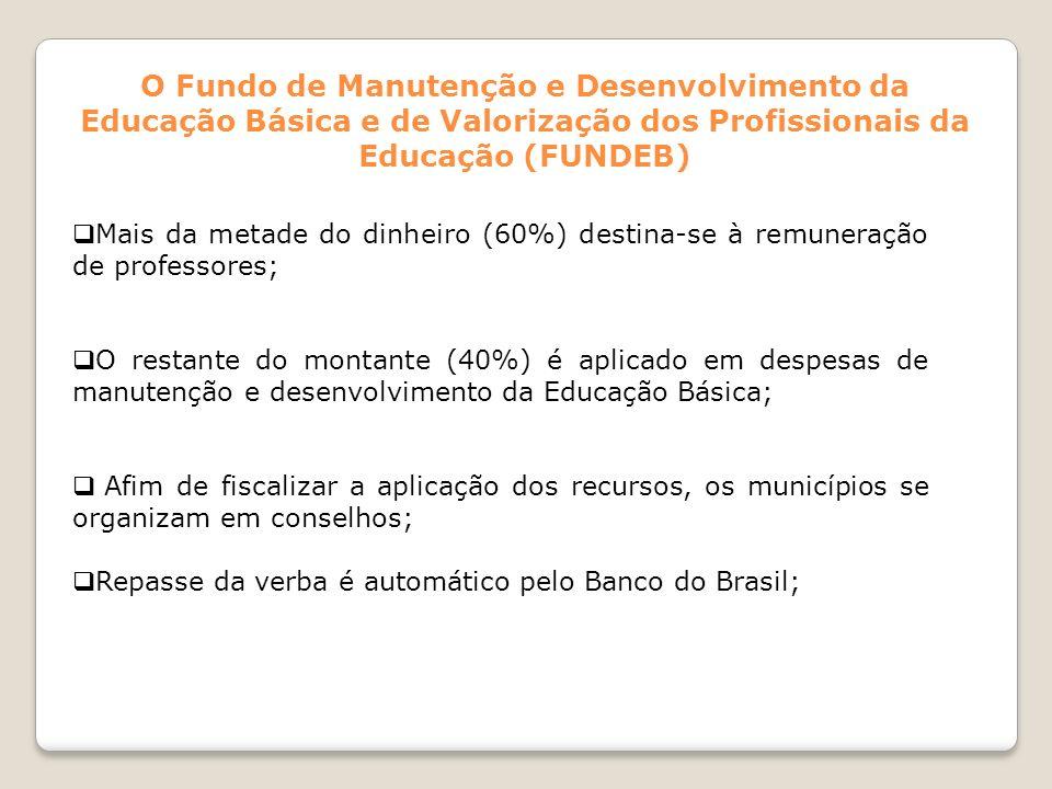 O Fundo de Manutenção e Desenvolvimento da Educação Básica e de Valorização dos Profissionais da Educação (FUNDEB) Mais da metade do dinheiro (60%) de