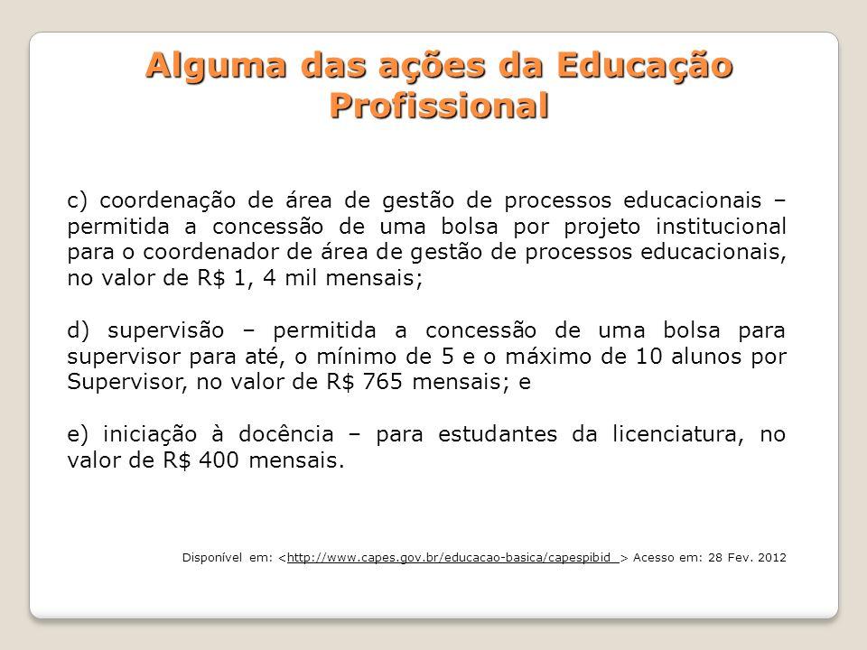 c) coordenação de área de gestão de processos educacionais – permitida a concessão de uma bolsa por projeto institucional para o coordenador de área d