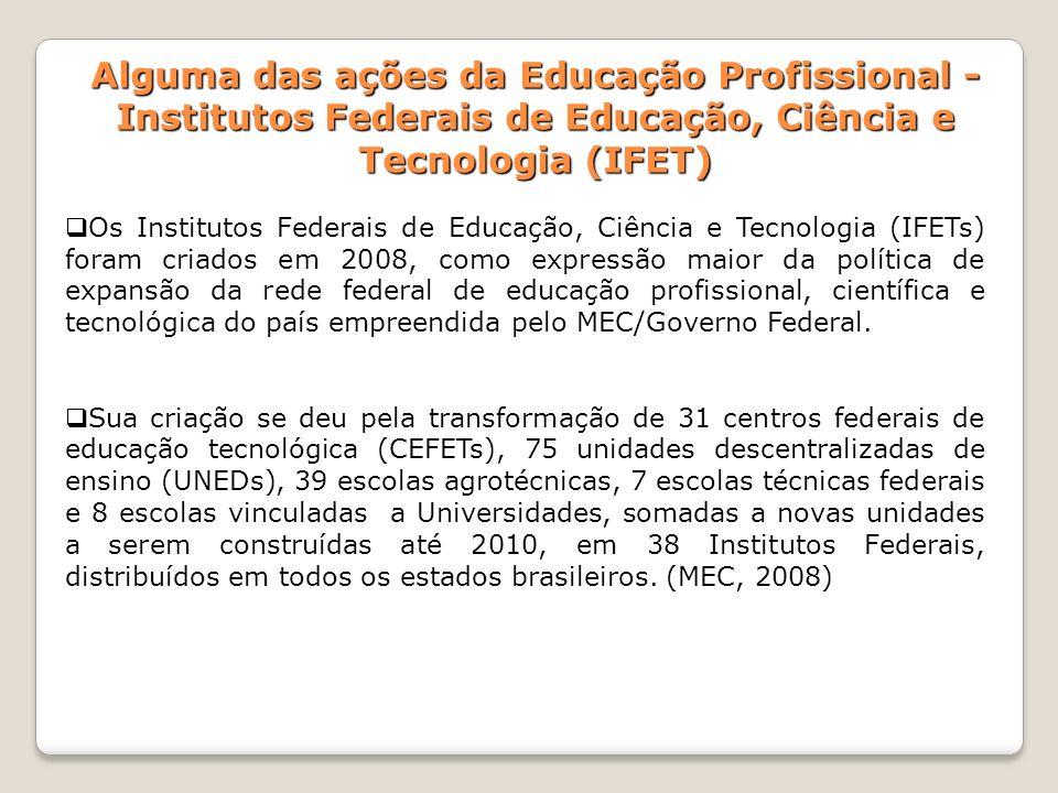 Alguma das ações da Educação Profissional - Institutos Federais de Educação, Ciência e Tecnologia (IFET) Os Institutos Federais de Educação, Ciência e