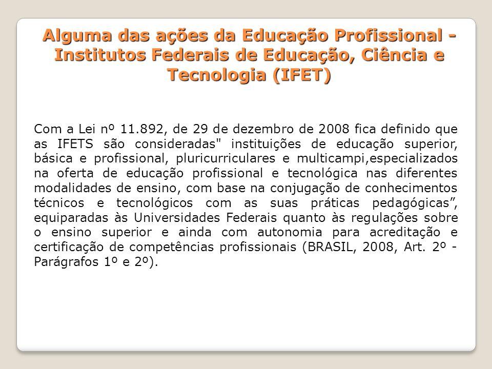 Alguma das ações da Educação Profissional - Institutos Federais de Educação, Ciência e Tecnologia (IFET) Com a Lei nº 11.892, de 29 de dezembro de 200