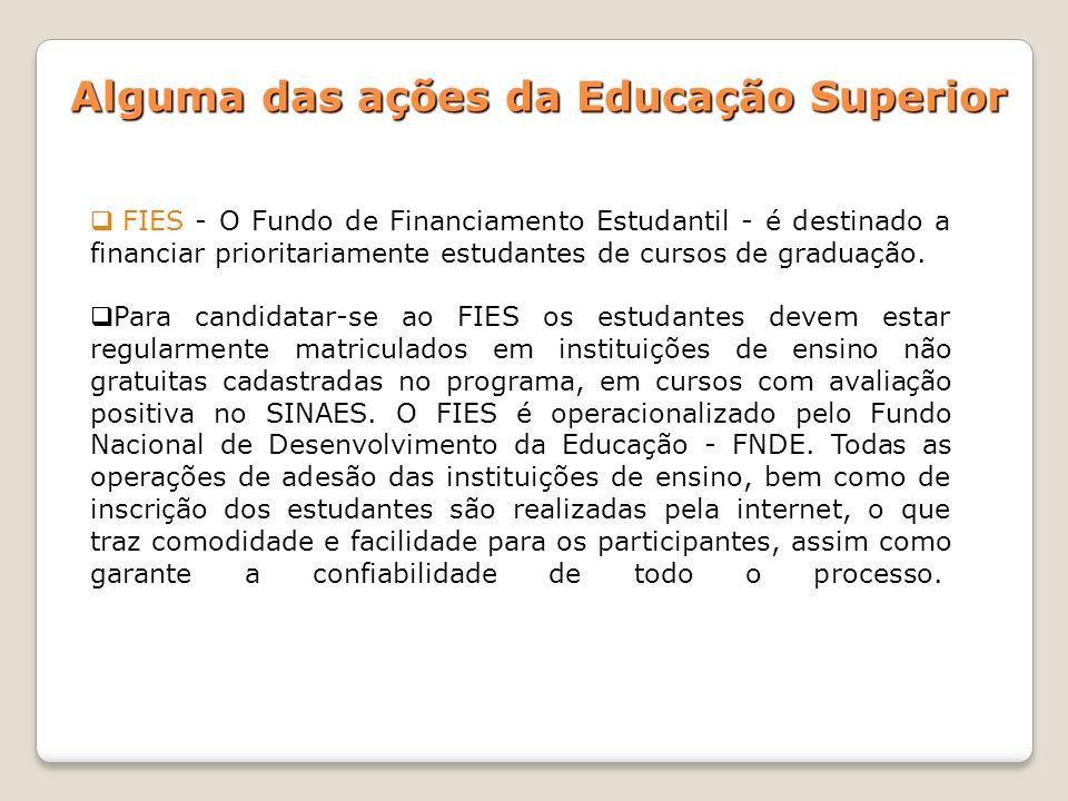 FIES - O Fundo de Financiamento Estudantil - é destinado a financiar prioritariamente estudantes de cursos de graduação. Para candidatar-se ao FIES os