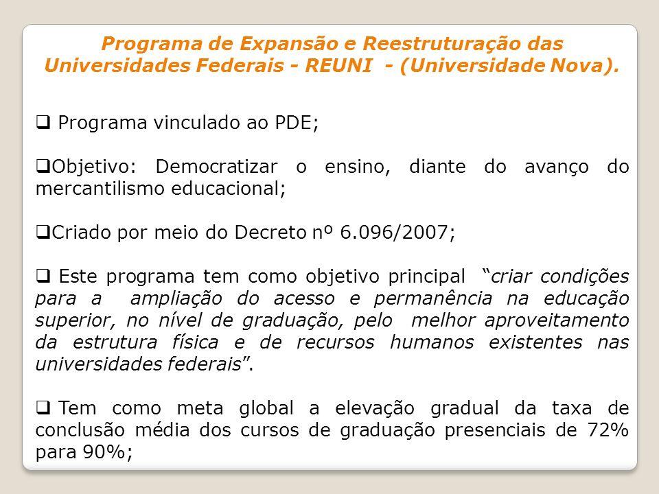 Programa de Expansão e Reestruturação das Universidades Federais - REUNI - (Universidade Nova). Programa vinculado ao PDE; Objetivo: Democratizar o en