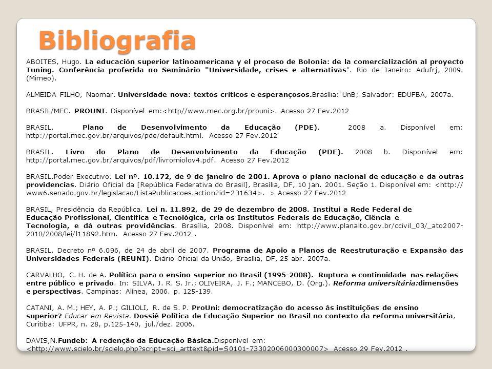 ABOITES, Hugo. La educación superior latinoamericana y el proceso de Bolonia: de la comercialización al proyecto Tuning. Conferência proferida no Semi