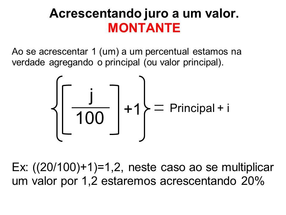 Acrescentando juro a um valor. MONTANTE Ao se acrescentar 1 (um) a um percentual estamos na verdade agregando o principal (ou valor principal). j 100