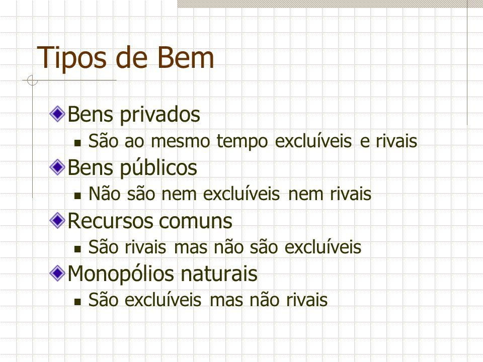 Tipos de Bem Bens privados São ao mesmo tempo excluíveis e rivais Bens públicos Não são nem excluíveis nem rivais Recursos comuns São rivais mas não s