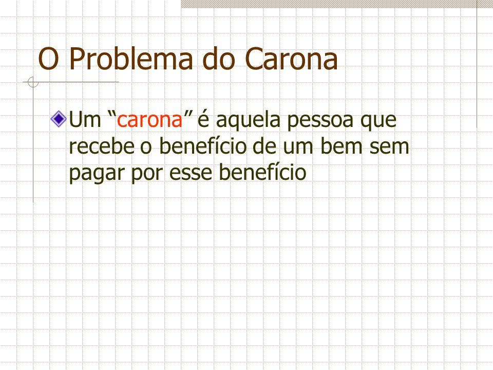 O Problema do Carona Um carona é aquela pessoa que recebe o benefício de um bem sem pagar por esse benefício