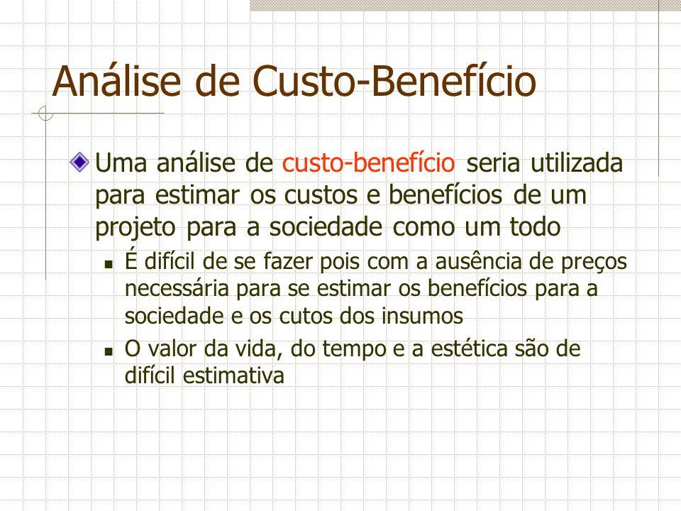 Análise de Custo-Benefício Uma análise de custo-benefício seria utilizada para estimar os custos e benefícios de um projeto para a sociedade como um t