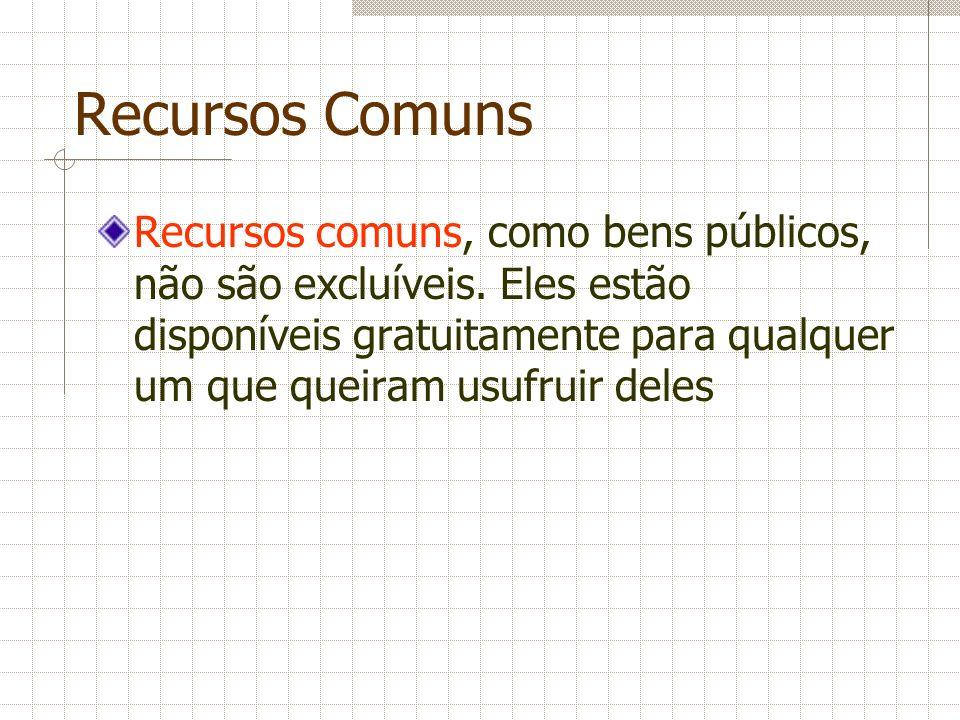 Recursos Comuns Recursos comuns, como bens públicos, não são excluíveis. Eles estão disponíveis gratuitamente para qualquer um que queiram usufruir de