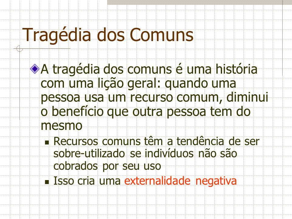 Tragédia dos Comuns A tragédia dos comuns é uma história com uma lição geral: quando uma pessoa usa um recurso comum, diminui o benefício que outra pe