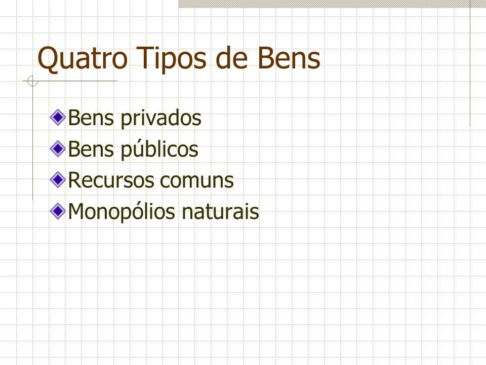 Quatro Tipos de Bens Bens privados Bens públicos Recursos comuns Monopólios naturais