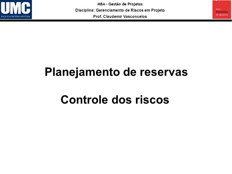 MBA – Gestão de Projetos Disciplina: Gerenciamento de Riscos em Projeto Prof. Claudemir Vasconcelos Planejamento de reservas Controle dos riscos