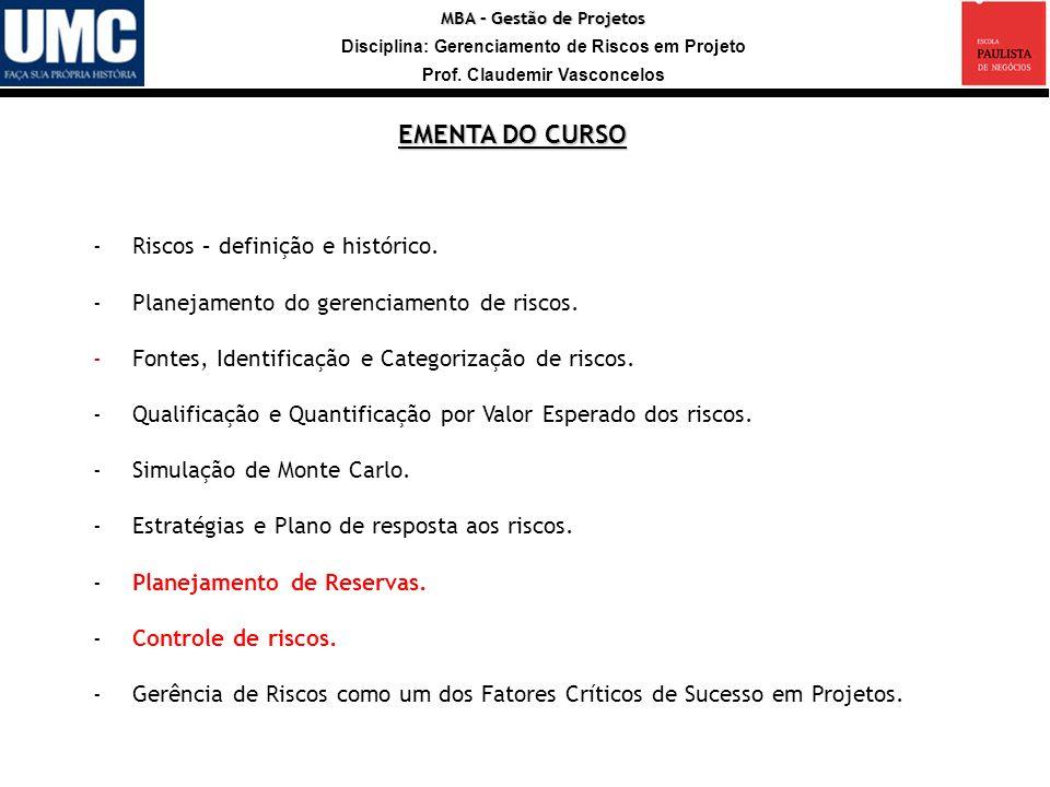 MBA – Gestão de Projetos Disciplina: Gerenciamento de Riscos em Projeto Prof. Claudemir Vasconcelos -Riscos – definição e histórico. -Planejamento do