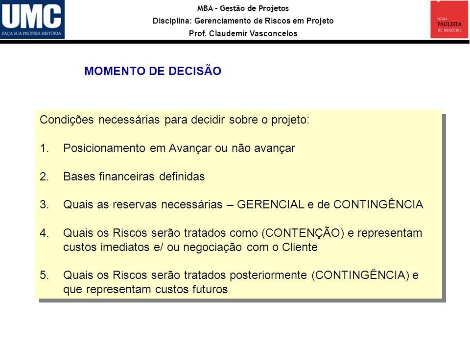 MBA – Gestão de Projetos Disciplina: Gerenciamento de Riscos em Projeto Prof. Claudemir Vasconcelos Fonte: Guia PMBOK, PMI, quarta edição, 2008 Condiç