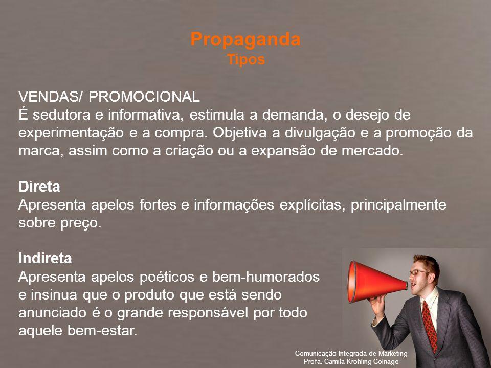 Comunicação Integrada de Marketing Profa. Camila Krohling Colnago VENDAS/ PROMOCIONAL É sedutora e informativa, estimula a demanda, o desejo de experi