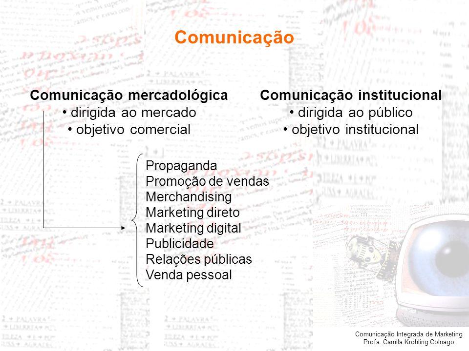 Comunicação Integrada de Marketing Profa. Camila Krohling Colnago Comunicação institucional dirigida ao público objetivo institucional Comunicação mer