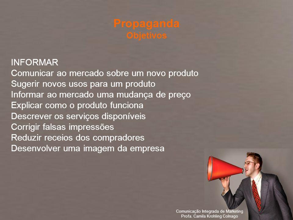 Comunicação Integrada de Marketing Profa. Camila Krohling Colnago INFORMAR Comunicar ao mercado sobre um novo produto Sugerir novos usos para um produ