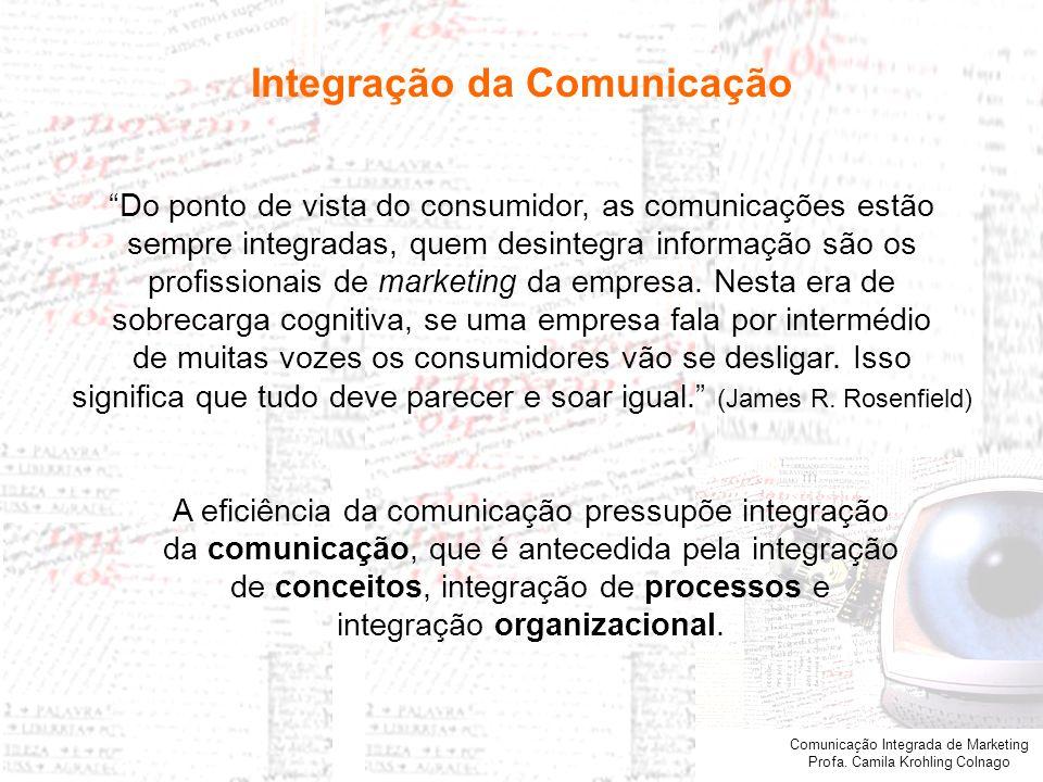 Comunicação Integrada de Marketing Profa. Camila Krohling Colnago Integração da Comunicação Do ponto de vista do consumidor, as comunicações estão sem