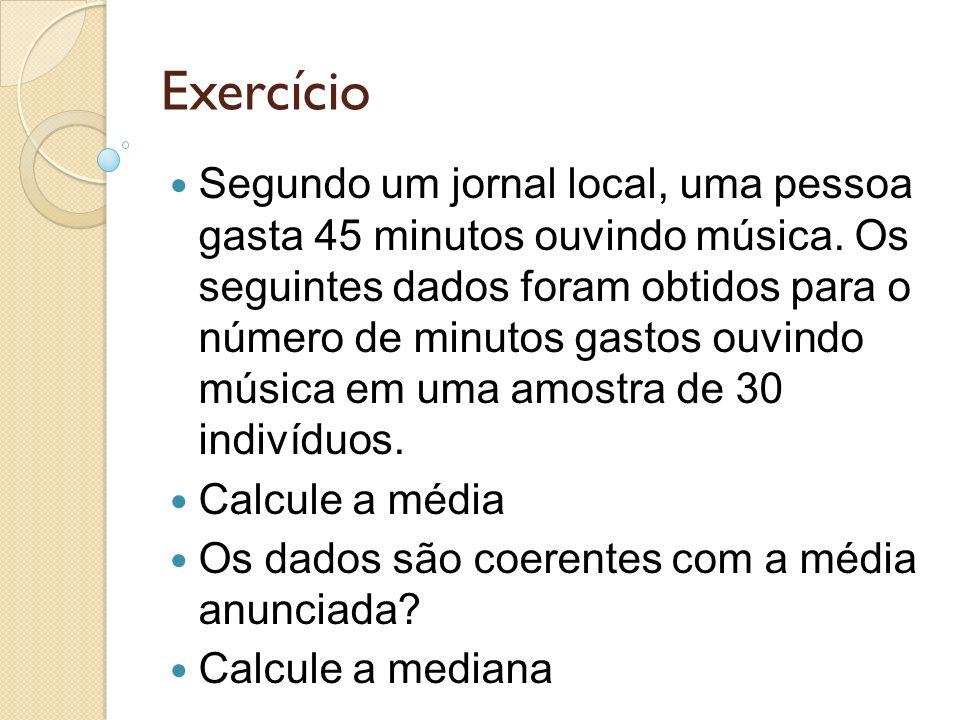 Exercício Segundo um jornal local, uma pessoa gasta 45 minutos ouvindo música. Os seguintes dados foram obtidos para o número de minutos gastos ouvind