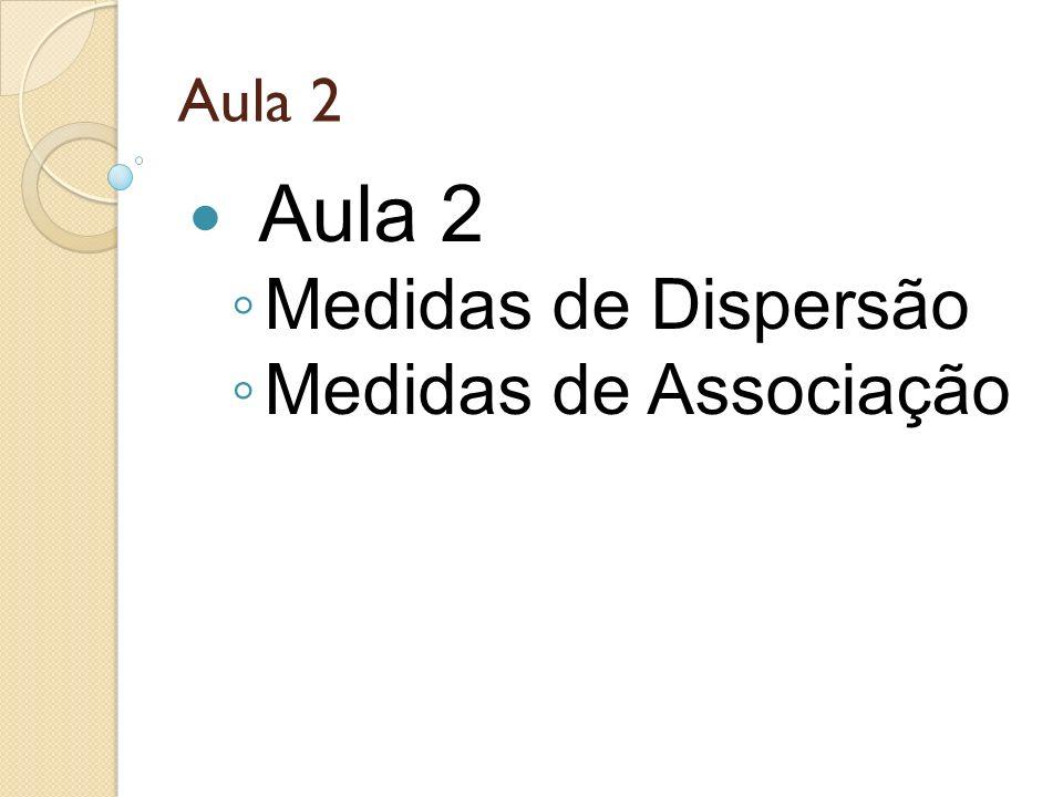 Aula 2 Medidas de Dispersão Medidas de Associação