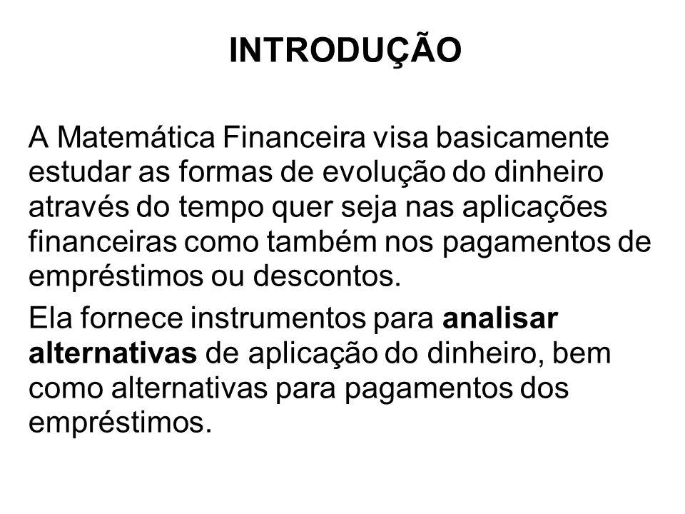 INTRODUÇÃO A Matemática Financeira visa basicamente estudar as formas de evolução do dinheiro através do tempo quer seja nas aplicações financeiras co