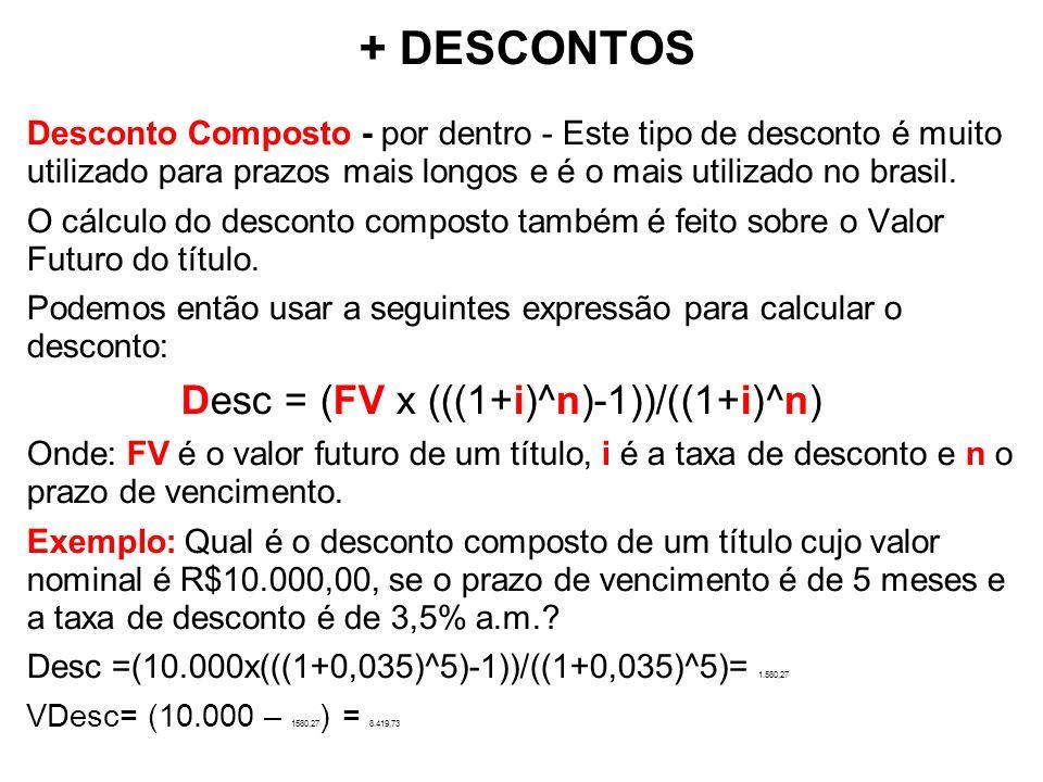 + DESCONTOS Desconto Composto - por dentro - Este tipo de desconto é muito utilizado para prazos mais longos e é o mais utilizado no brasil. O cálculo