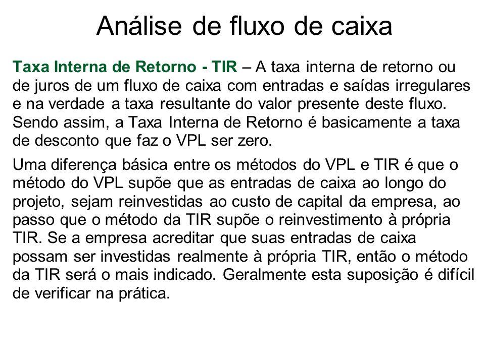 Análise de fluxo de caixa Taxa Interna de Retorno - TIR – A taxa interna de retorno ou de juros de um fluxo de caixa com entradas e saídas irregulares