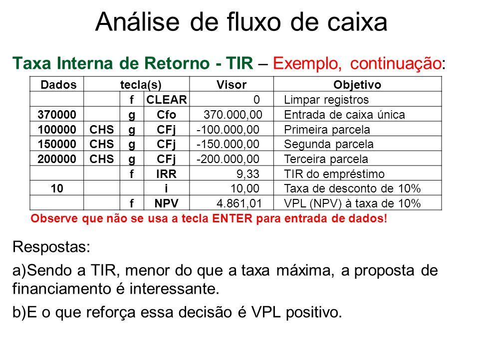 Análise de fluxo de caixa Taxa Interna de Retorno - TIR – Exemplo, continuação: Respostas: a)Sendo a TIR, menor do que a taxa máxima, a proposta de fi