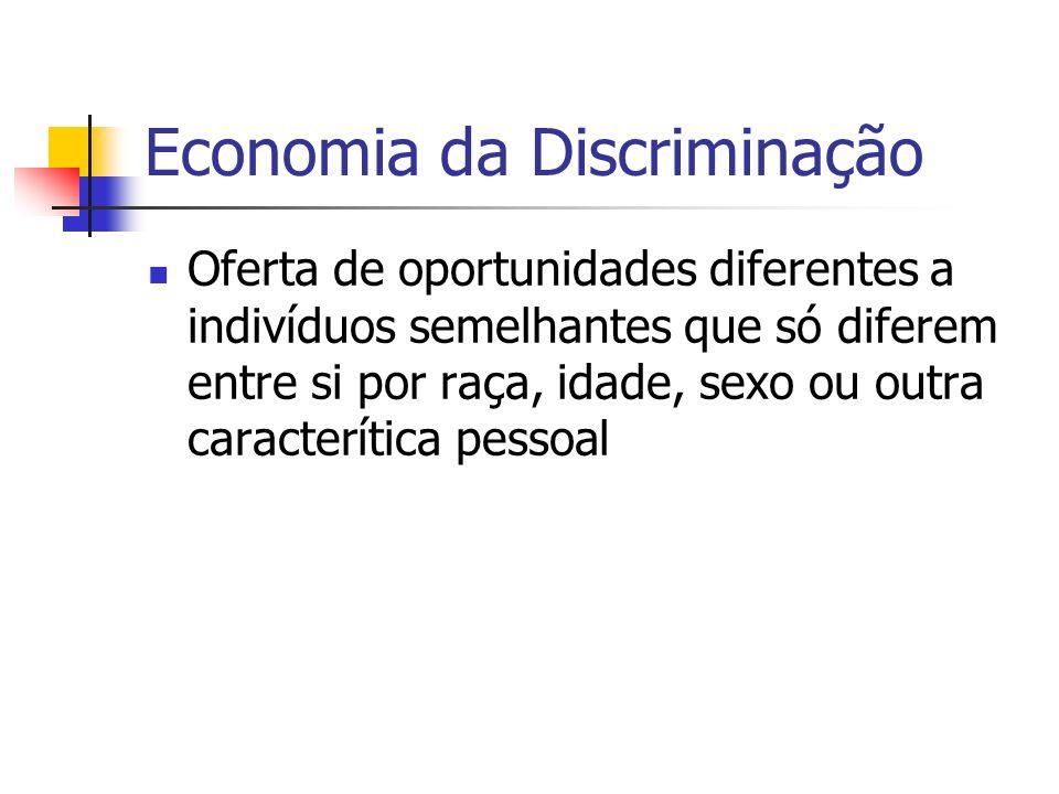 Economia da Discriminação Oferta de oportunidades diferentes a indivíduos semelhantes que só diferem entre si por raça, idade, sexo ou outra caracterítica pessoal