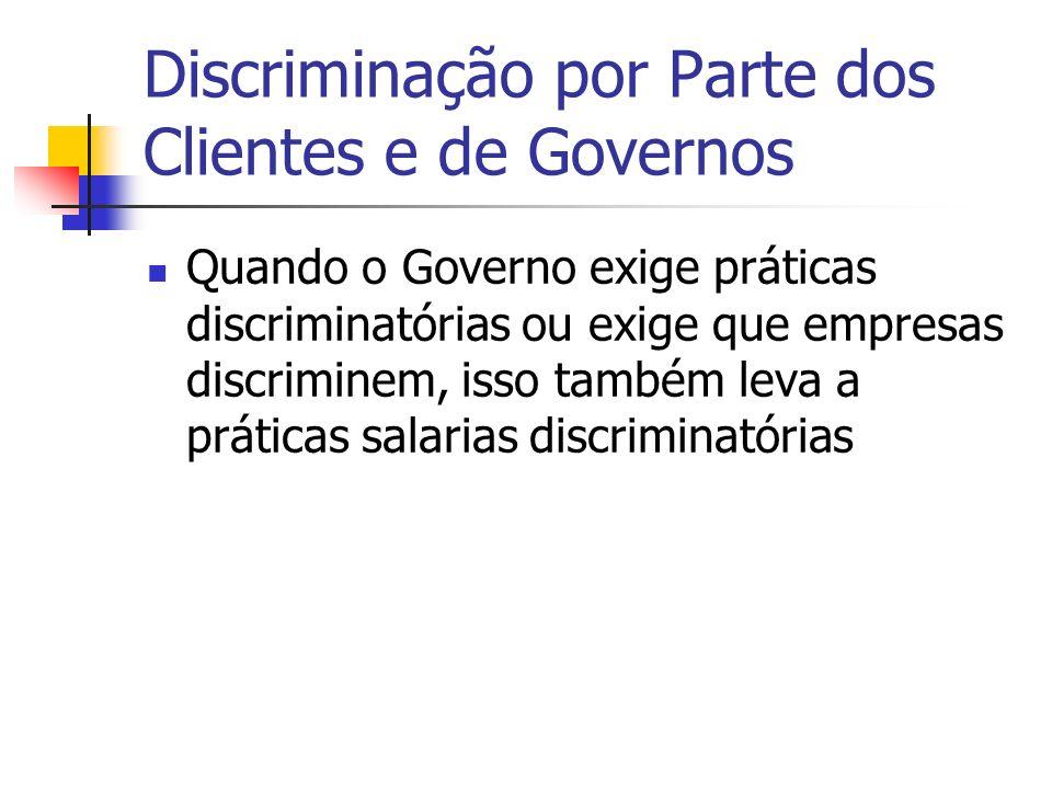 Discriminação por Parte dos Clientes e de Governos Quando o Governo exige práticas discriminatórias ou exige que empresas discriminem, isso também leva a práticas salarias discriminatórias