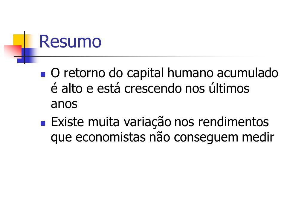 Resumo O retorno do capital humano acumulado é alto e está crescendo nos últimos anos Existe muita variação nos rendimentos que economistas não conseguem medir