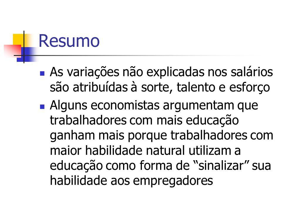 Resumo As variações não explicadas nos salários são atribuídas à sorte, talento e esforço Alguns economistas argumentam que trabalhadores com mais edu